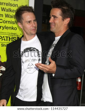 "LOS ANGELES - OCT 30:  Sam Rockwell, Colin Farrell  at the ""Seven Psychopaths"" Premiere at Bruin Theater on October 30, 2012 in Westwood, CA - stock photo"