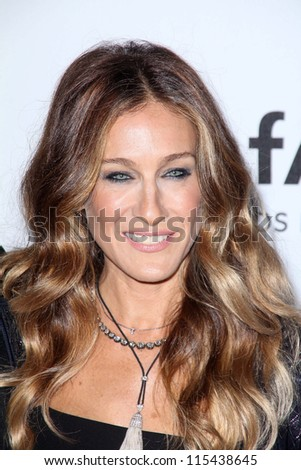 LOS ANGELES - OCT 11:  Sarah Jessica Parker arrives at the amfAR Inspiration Gala Los Angeles at Milk Studios on October 11, 2012 in Los Angeles, CA - stock photo