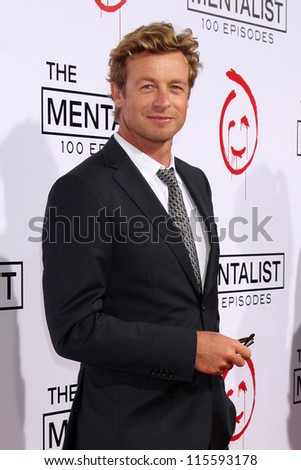 "LOS ANGELES - OCT 11:  Simon Baker arrives at ""The Mentalist"" 100th Episode Party at The Edison on October 11, 2012 in Los Angeles, CA - stock photo"