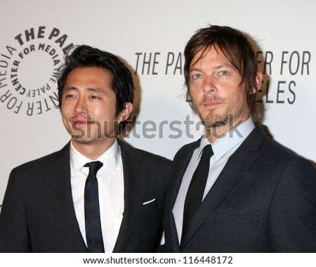 LOS ANGELES - OCT 22:  Steven Yeun, Norman Reedus arrives at  the Paley Center for Media Annual Los Angeles Benefit at The Lot on October 22, 2012 in Los Angeles, CA