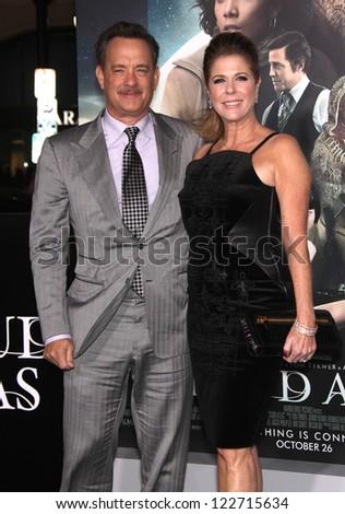 """LOS ANGELES - OCT 24:  Tom Hanks & Rita Wilson arriving to """"Cloud Atlas"""" Los Angeles Premiere  on October 24, 2012 in Hollywood, CA"""