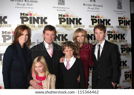 "LOS ANGELES - OCT 11:  Wayne Gretzky and family arrives at the ""Mr. Pink"" Energy Drink Launch at Beverly Wilshire Hotel on October 11, 2012 in Beverly Hills, CA"