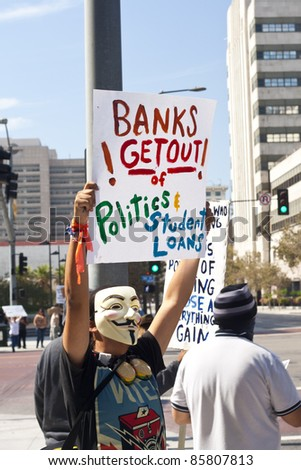 LOS ANGELES - OCTOBER 2: Demonstrator's signs at the City Hall in Los Angeles, CA at the Occupy Wall Street LA rally on October 2, 2011. Protesters vowed to continue the demonstration into the future.