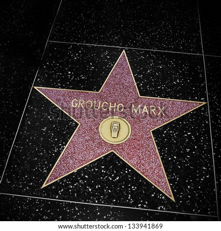 LOS ANGELES - OCTOBER 16: Groucho Marx star in Hollywood Walk of Fame on October 16, 2011 in Los Angeles. Those more than 2,400 five-pointed stars attracts about 10 million visitors annually