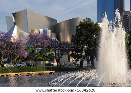 Los Angeles Philharmonic Orchestra venue with jacaranda trees and fountain in foreground