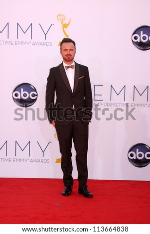 LOS ANGELES SEP 23 Aaron Paul arrives at the 2012 Emmy Awards at Nokia