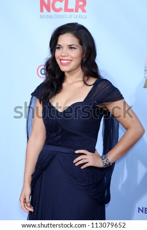 LOS ANGELES - SEP 16:  America Ferrera arrives at the 2012 ALMA Awards at Pasadena Civic Auditorium on September 16, 2012 in Pasadena, CA - stock photo
