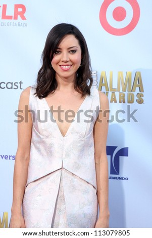 LOS ANGELES - SEP 16:  Aubrey Plaza arrives at the 2012 ALMA Awards at Pasadena Civic Auditorium on September 16, 2012 in Pasadena, CA