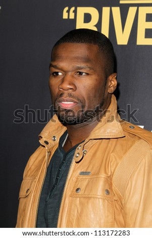 """LOS ANGELES - SEP 17:  50 Cent, Curtis James Jackson arrives at the """"End Of Watch"""" Premiere at Regal Cinemas L.A. Live on September 17, 2012 in Los Angeles, CA - stock photo"""