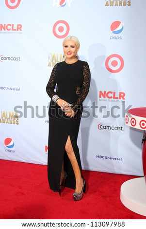 LOS ANGELES - SEP 16:  Christina Aguilera arrives at the 2012 ALMA Awards at Pasadena Civic Auditorium on September 16, 2012 in Pasadena, CA