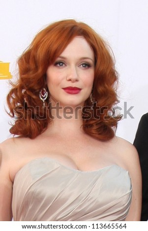 LOS ANGELES - SEP 23:  Christina Hendricks arrives at the 2012 Emmy Awards at Nokia Theater on September 23, 2012 in Los Angeles, CA
