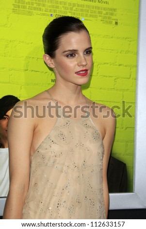 """LOS ANGELES - SEP 10:  Emma Watson arrives at """"The Perks of Being a Wallflower"""" Premiere at ArcLight Cinemas on September 10, 2012 in Los Angeles, CA - stock photo"""