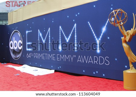 LOS ANGELES - SEP 22:  Emmy Statue during Preparations for the Emmy awards  on September 22, 2012 in Los Angeles, CA - stock photo