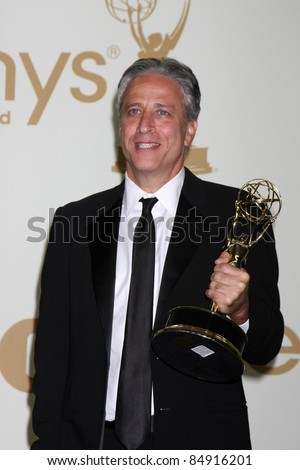 LOS ANGELES - SEP 18:  Jon Stewart in the Press Room at the 63rd Primetime Emmy Awards at Nokia Theater on September 18, 2011 in Los Angeles, CA
