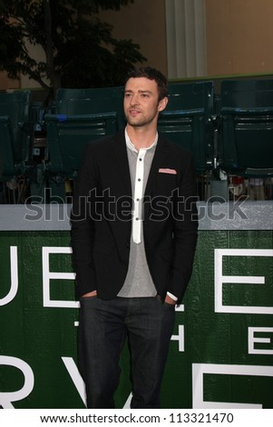 "LOS ANGELES - SEP 19:  Justin Timberlake arrives at the ""Trouble With The Curve"" Los Angeles Premiere at Village Theater on September 19, 2012 in Westwood, CA - stock photo"