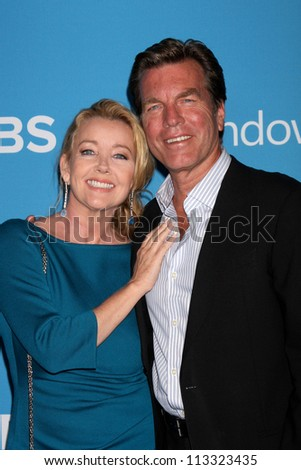 LOS ANGELES - SEP 15:  Melody Thomas Scott, Peter Bergman arrives at the CBS 2012 Fall Premiere Party  at Greystone Manor on September 15, 2012 in Los Angeles, CA - stock photo