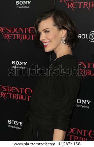 LOS ANGELES - SEP 12: Milla Jovovich at the LA premiere of 'Resident Evil: Retribution' at Regal Cinemas L.A. Live on September 12, 2012 in Los Angeles, California