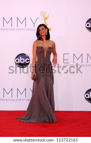 LOS ANGELES - SEP 23:  Morena Baccarin arrives at the 2012 Emmy Awards at Nokia Theater on September 23, 2012 in Los Angeles, CA - stock photo