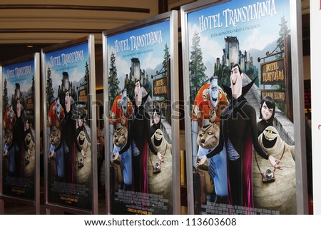 LOS ANGELES - SEP 22:  Poster at the screening of Columbia Pictures and Sony Pictures Animation's 'Hotel Transylvania' at Pacific Theater at The Grove on September 22, 2012 in Los Angeles, CA