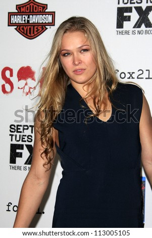 "ANGELES - SEP 8: Ronda Rousey arrives at the ""Sons of Anarchy"" Season"