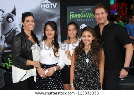 "LOS ANGELES - SEP 24:  Sean Kanan, with Wife, Stepdaughters, and daughter arrives at the ""Frankenweenie"" Premiere at El Capitan Theater on September 24, 2012 in Los Angeles, CA"