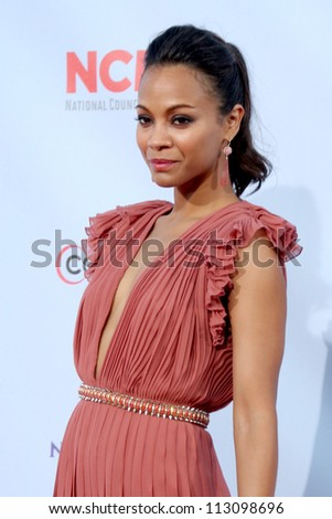 LOS ANGELES - SEP 16:  Zoe Saldana arrives at the 2012 ALMA Awards at Pasadena Civic Auditorium on September 16, 2012 in Pasadena, CA