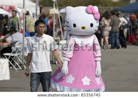 LOS ANGELES - SEPT 25:  A festival participant dressed as 'Hello Kitty' at Little Tokyo's Cherry Blossom Festival on September 25, 2011 in Los Angeles, CA.