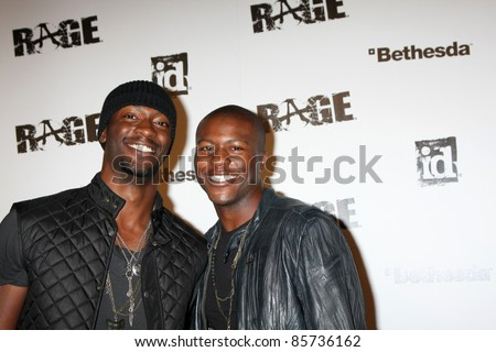 LOS ANGELES - SEPT 30:  Aldis Hodge, Edwin Hodge arriving at  the RAGE Game Launch at the Chinatown's Historical Central Plaza on September 30, 2011 in Los Angeles, CA