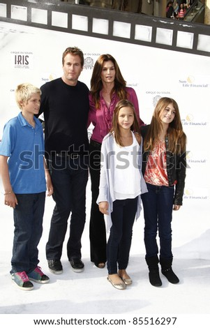 "LOS ANGELES - SEPT 25:  Cindy Crawford, husband,kids,friend arriving at the ""IRIS, A Journey Through the World of Cinema""  Premiere at Kodak Theater on September 25, 2011 in Los Angeles, CA"