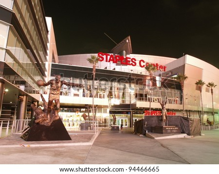 LOS ANGELES - SEPTEMBER 20: Staples Center, home of the Lakers, Clippers and Kings,  hosts to over 250 events and nearly 4,000,000 visitors a year.September 20, 2011, in Los Angeles, California. - stock photo