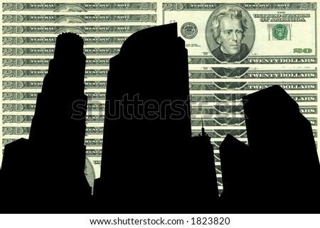 Los Angeles Skyline against twenty dollar bill