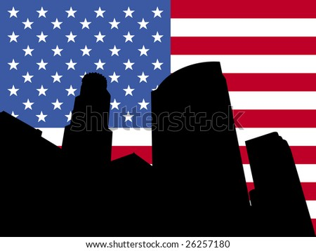 Los Angeles skyline and American flag illustration JPEG