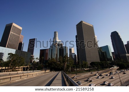 Los Angeles Skyline and Freeway