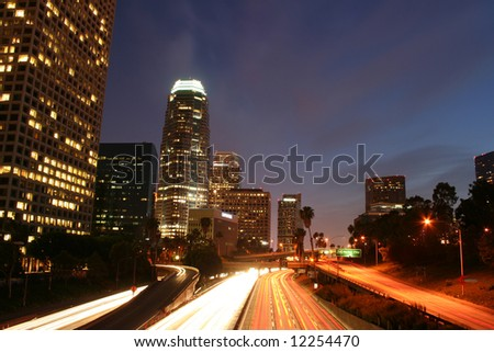 Los Angeles Skyline and Freeway at Night