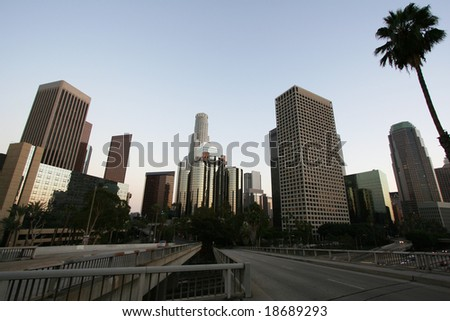 Los Angeles Skyline and Freeway at Sunset