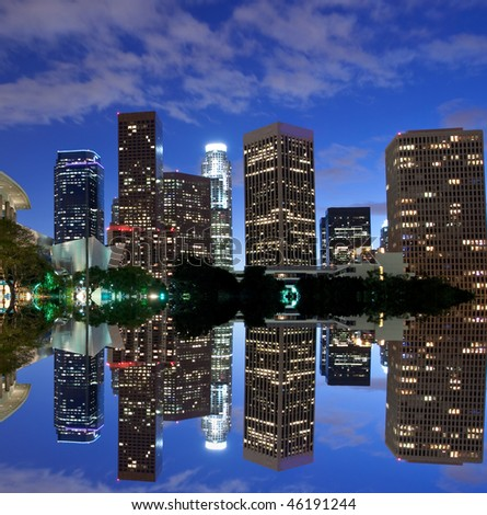 Los Angeles skyline and reflection at night