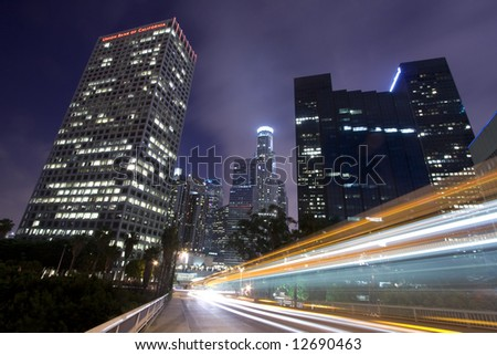 Los Angeles skyline and traffic