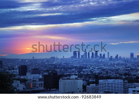 Los Angeles skyline at dawn, view from Hollywood Hills.