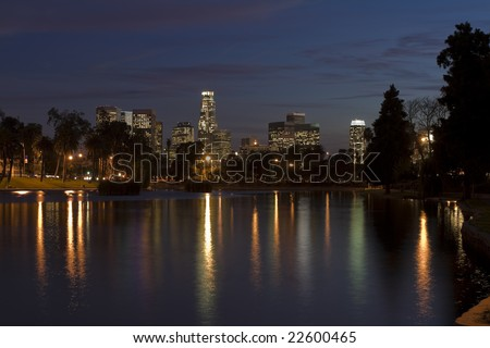 Los Angeles skyline at night.