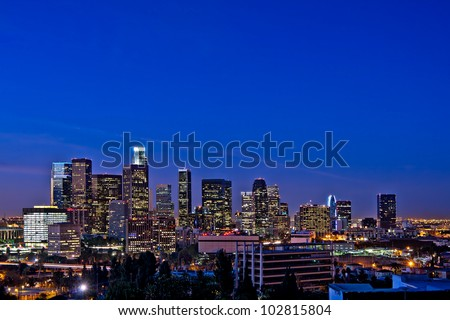 Los Angeles Skyline At Night Against a Rare Clear Blue Sky