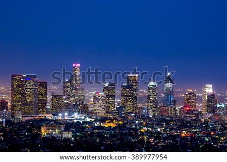 Los Angeles skyline at twilight #389977954