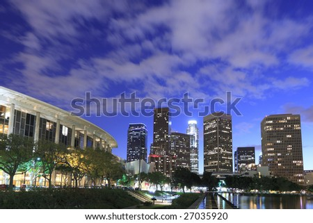 Los Angeles skyline just after sunset