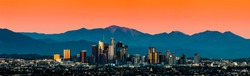 Los Angeles Skyline. LA cityscape sunset. Downtown Los Angeles