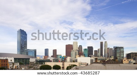Los Angeles skyline on a sunny day.