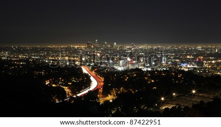 Los Angeles skyline viewed from Mulholland Drive at night.