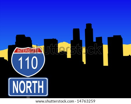 Los Angeles skyline with interstate 110 sign illustration JPG