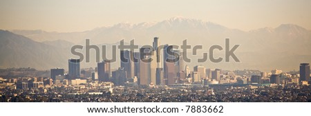 Los Angeles skyline with mountains behind