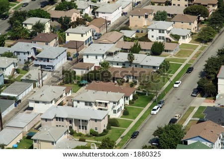 los angeles suburbs aerial view