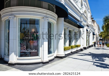 Los Angeles, U.S.A. - May 31 2011: People walking in front of the luxury stores in Rodeo Drive