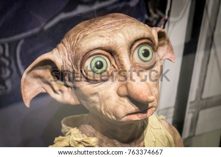 LOS ANGELES, USA - AUGUST 24, 2017: The beloved character Dobby in the Harry Potter exhibition in Warner Brothers Studio Tour in Burbank. Editorial.